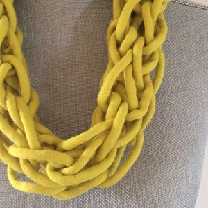 Chartreuse handmade arm knit infinity scarf